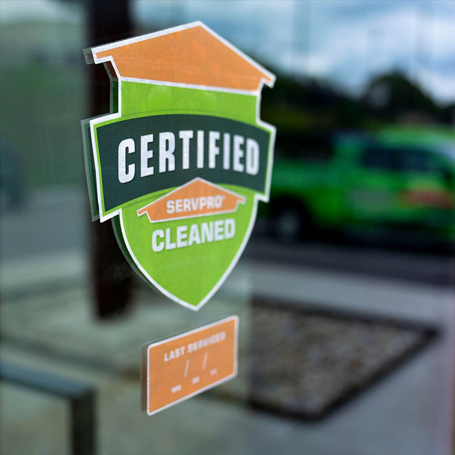 Image of Certified: SERVPRO Cleaned sticker on window