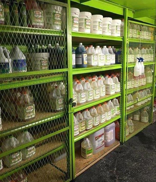 cleaning supplies on shelves