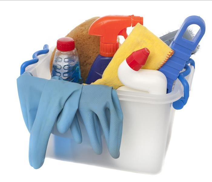 Commercial Cleaning - bucket of cleaning items